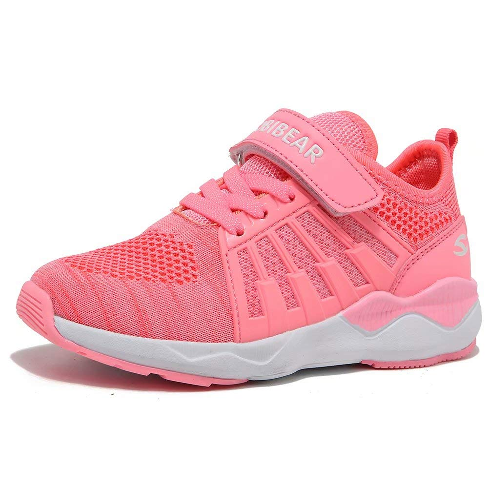HOBIBEAR Girls Knit Running Shoes Breathable Lightweight Mesh Athletic Sneakers-Pink