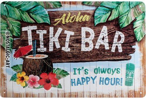 Dise/ño Vintage Decorativo Idea de Regalo para los Aficionados a los c/ócteles 20 x 30 cm met/álico Nostalgic-Art Cartel de Chapa Retro Tiki Bar