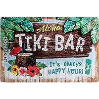 Nostalgic-Art 22251Open Bar–Tiki Bar, Cartel de Chapa 20x