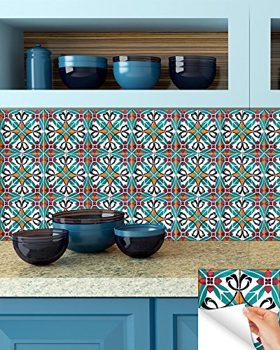 Backsplash Peel and Stick Tile Stickers 24 PC Set Authentic Tile Decals Bathroom & Kitchen Vinyl Wall Decals Easy to Apply Just Peel & Stick Home Decor (6x6 Inch, Turquoise H6) - Turquoise Wall Tile