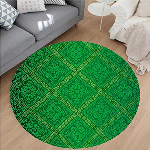 Nalahome Modern Flannel Microfiber Non-Slip Machine Washable Round Area Rug-Vector Illustration Seamless Pattern of Foliage Wallpaper Decorative Pattern Forest Green area rugs Home Decor-Round 43