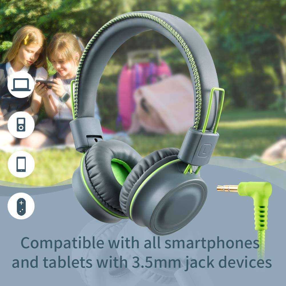 Cell Phones Accessories Headphones Headphones Cell Phones Accessories Mint Green Powmee M2 Kids Headphones Wired Headphone For Kids Foldable Adjustable Stereo Tangle Free 3 5mm Jack Wire Cord On Ear Headphone For Children Teens Girls School Kindle The cord is nylon braided, size: matrix design llc