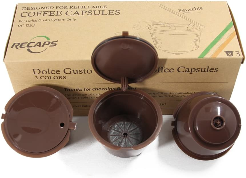 RECAPS Cápsula de café Recargable Compatible con Dolce Gusto (marrón): Amazon.es: Hogar