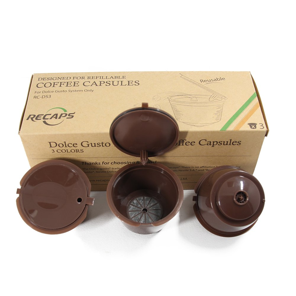 RECAPS Refillable Coffee Capsules Refilling More Than 200 Times Reusable Coffee Pods for Nescafe Dolce Gusto Brewers 3 Pack Brown