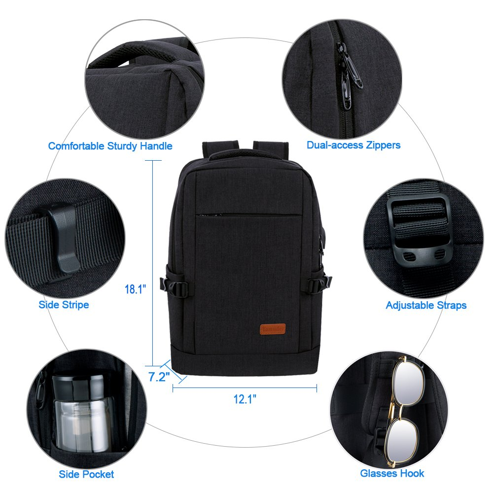 Laptop Backpack, Water Resistant College Students School Bag Travel Computer Backpack for Men Women with USB Charging Port and Headphone Port, Fits Business Laptops Notebooks up to 15.6 Inches by Yomuder (Image #4)