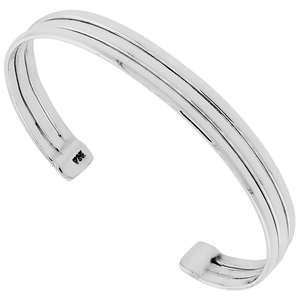 Sterling Silver Cuff Bracelet Triple Dome Wire Handmade 7.25 inch
