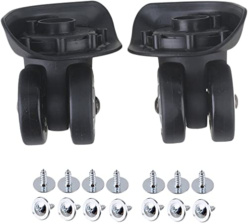 BQLZR 9.1x10x5cm Black Plastic Left Right Swivel Luggage Suitcase Caster Wheels with 7 Holes