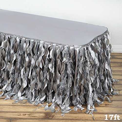 (Tableclothsfactory 17ft Enchanting Curly Willow Taffeta Table Skirt - Silver)