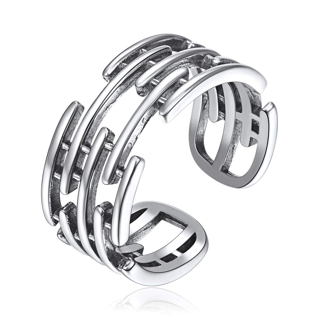 ChicSilver 925 Sterling Silver Stackable Rings Vintage Open Adjustable Cuff Wide Band Ring for Women Men