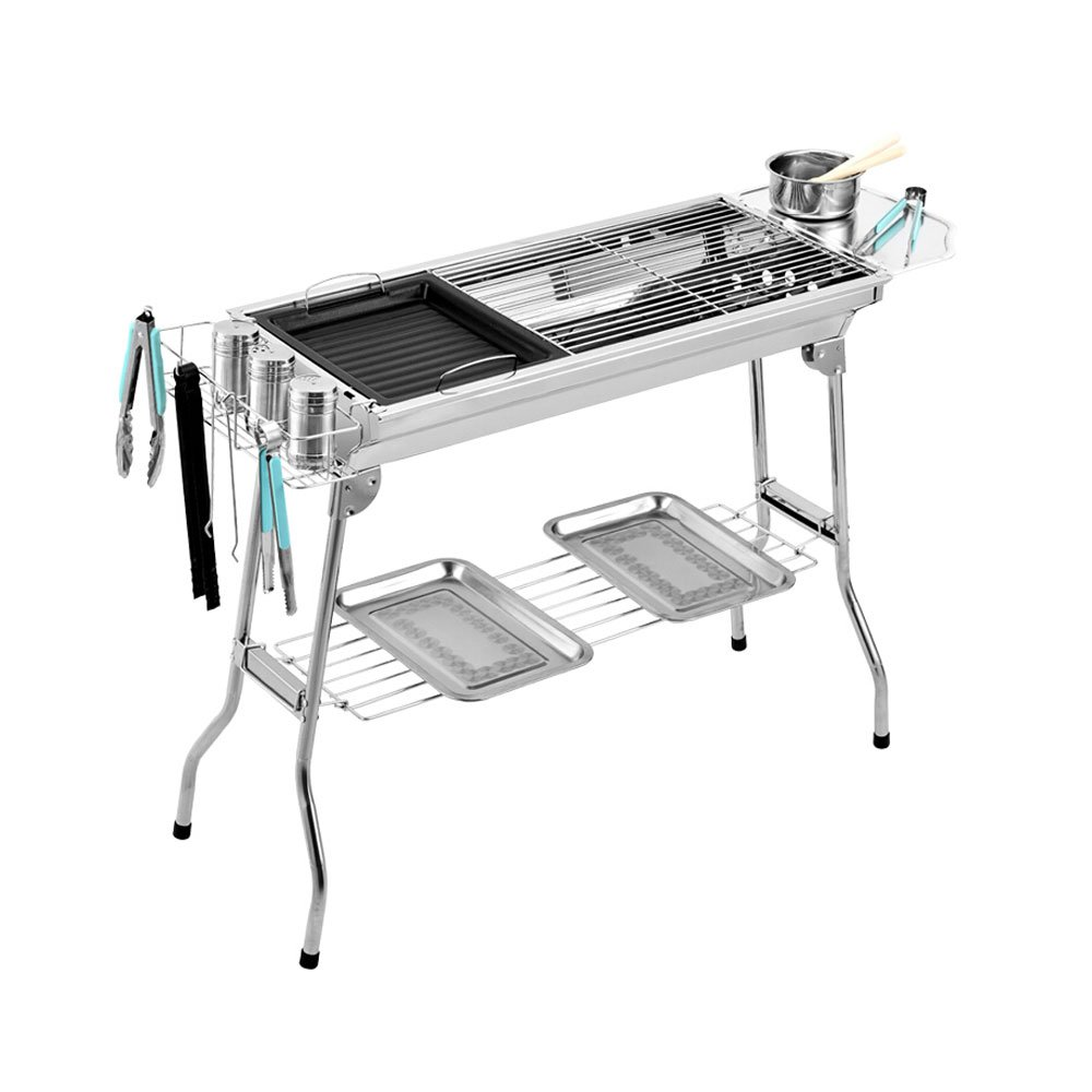 Outdoor Grill Barbecue Grill Barbecue Porter Portable Stainless Steel Outdoor Charcoal Folding Home Picnic Charcoal Oven Gift Bag