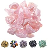 "FORBY 1 lb Bulk Rose Quartz Rough Stones - Large 1"" Natural Raw Stones Crystal for Tumbling, Cabbing, Fountain Rocks…"