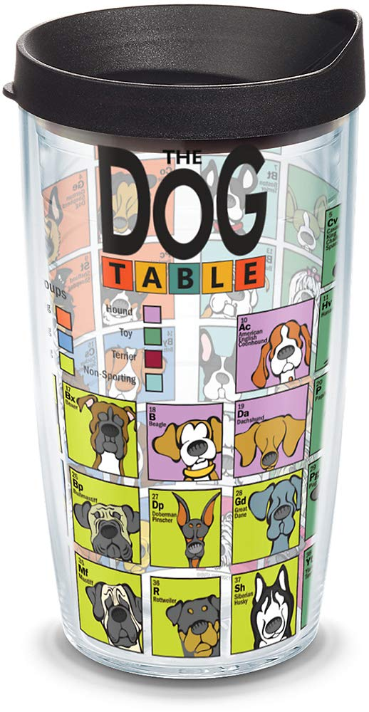 Tervis 1090180 Dog Periodic Table Insulated Tumbler with Wrap and Black Lid, 16oz, Clear