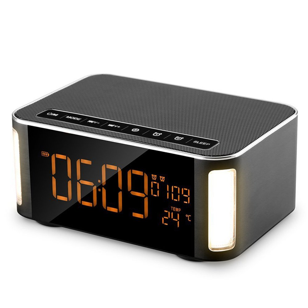 Wireless Bluetooth Speaker,Hi-fi Speaker,Alarm Clock Bluetooth Speaker with Led, Stereo Sound,FM Radio,Hands-free,Two Passive Subwoofer,Time,Temperature,Two Alarm Clock,Great for Party,Traveling
