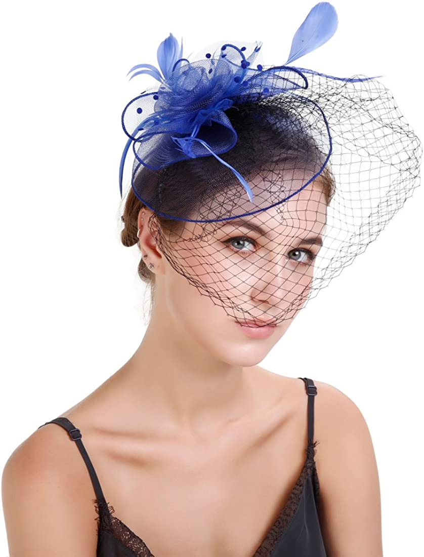 FeiYu Crafts Fascinator hat 20s Hat Pillbox Hat Cocktail Tea Party Headwear with Veil