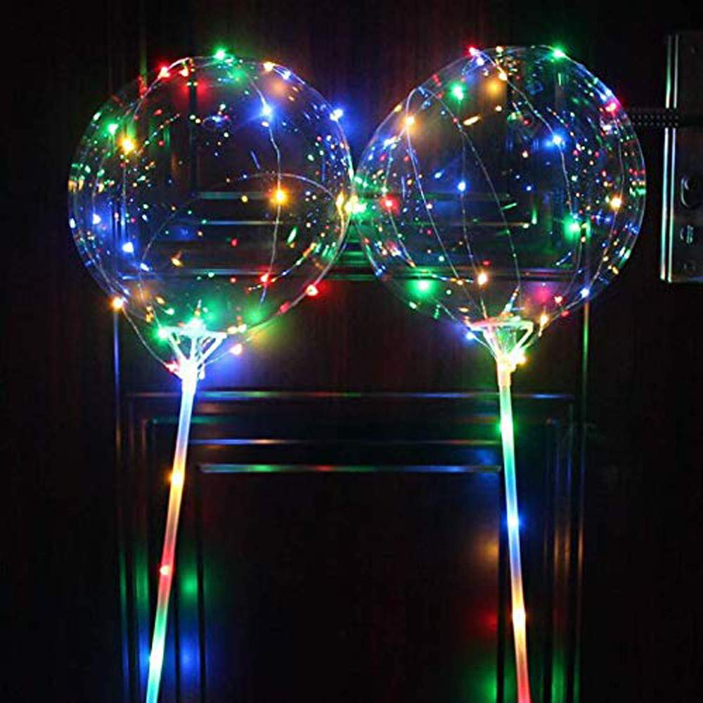 Lovewe 18 Inch 2pcs Led Light Up Bobo Balloon Colorful, Reusable Luminous Led Balloon With Stick Transparent Round Bubble Decoration Party Wedding Decoration(Multicolor)