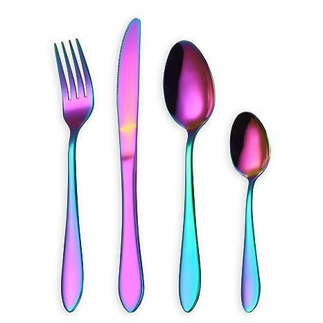 HOMQUEN Juego de cubiertos, juego de platos y cubiertos de colores, servicio de juego