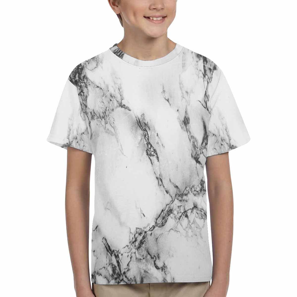 XS-XL INTERESTPRINT Youth Crew Neck T-Shirt Marble Pattern