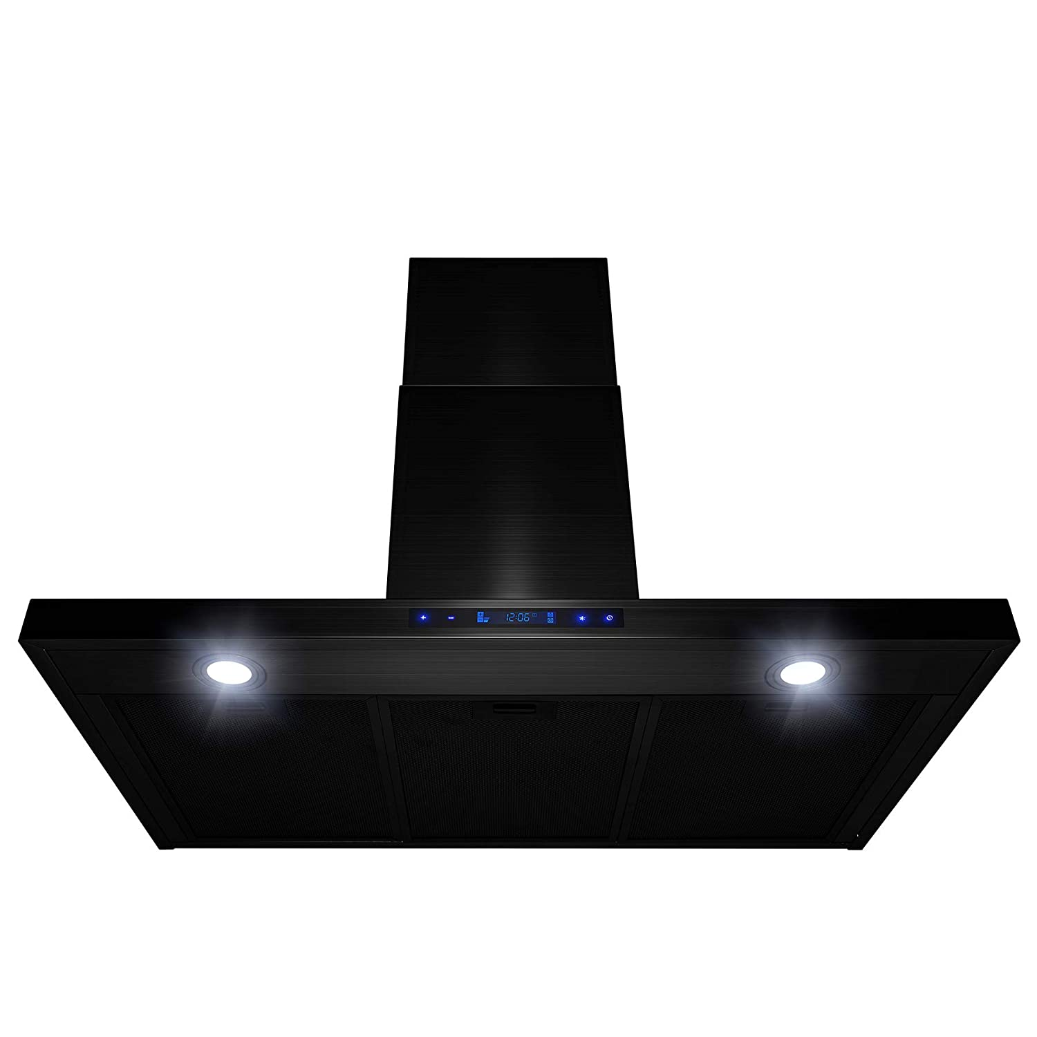 AKDY 36 Wall Mount Brushed Black Stainless Steel Touch Panel Kitchen Range Hood Cooking Fan