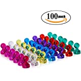 Netany 100-Pack Strong Magnetic Push Pins - 7 Assorted Color Office Magnets - Perfect Magnets for Whiteboard, Refrigerator, Map and Calendar
