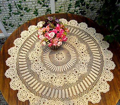 Damanni Beige Cotton Handmade Crochet Lace Tablecloth Doilies Table Overlay,Round,51 Inch ()