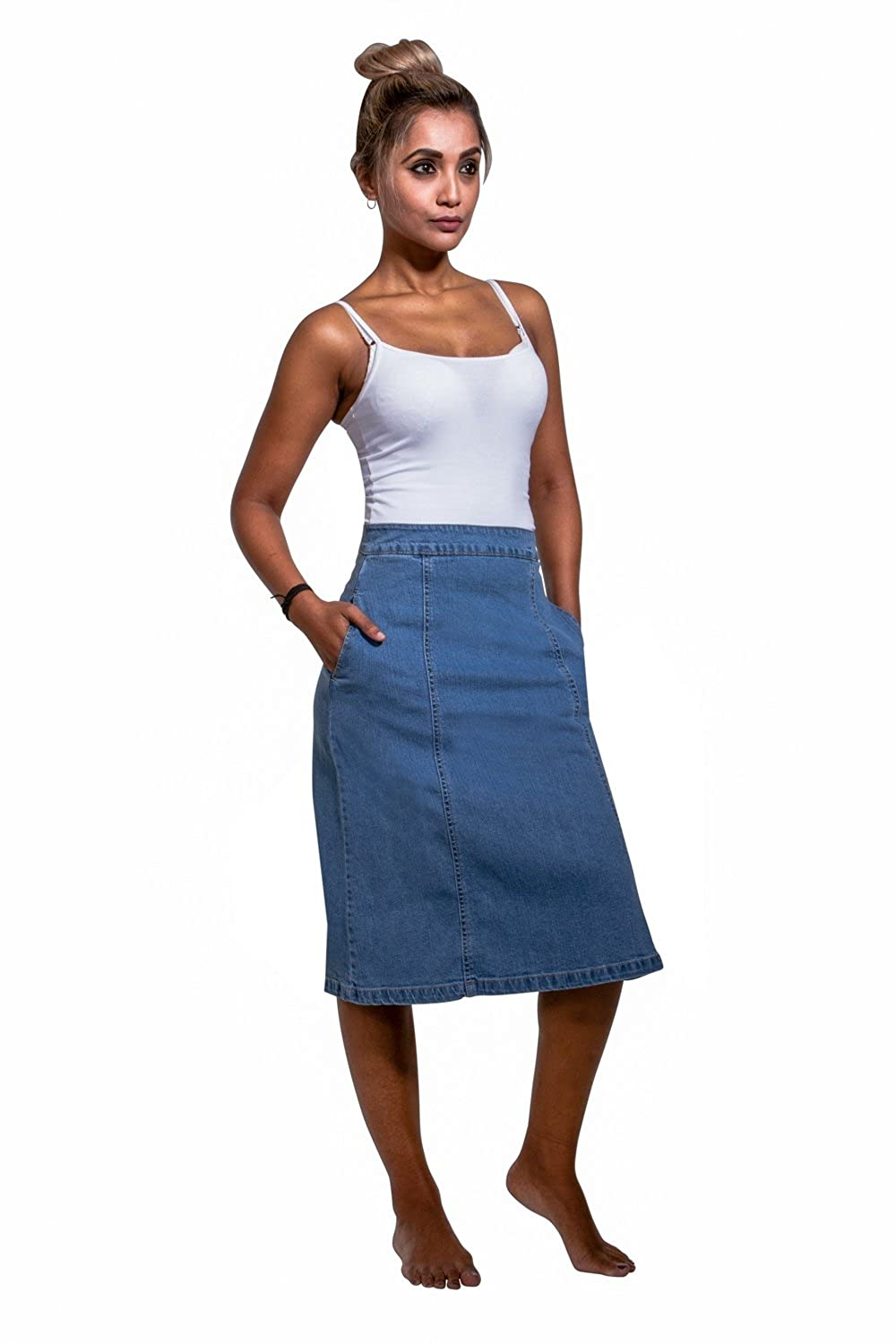 d42efe543d Uskees Molly Mid-Length Denim Skirt - Palewash Panelled Jean Skirt with  Stretch MOLLYPW: Amazon.co.uk: Clothing