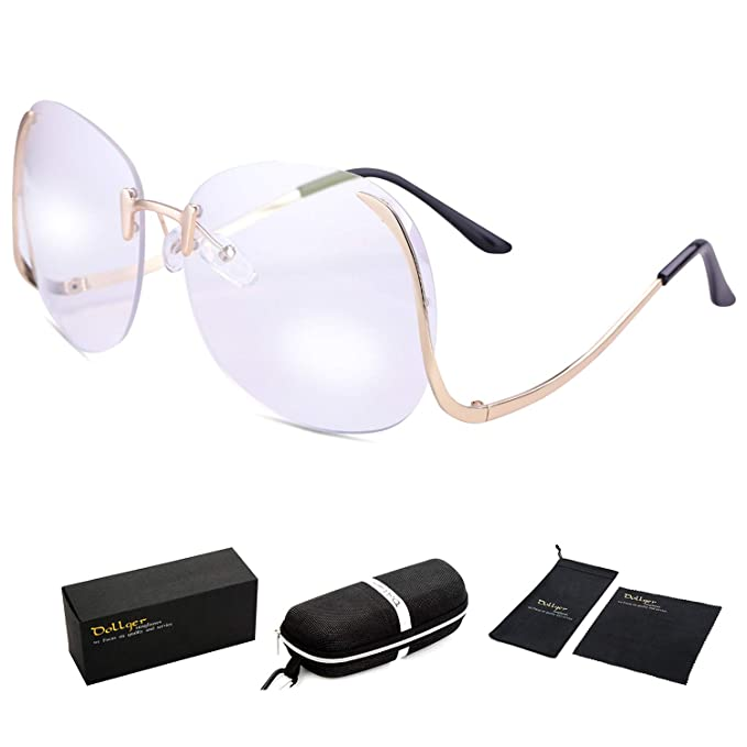 Dollger Oversized Rimless Sunglasses for Women Big Frame Clear Lens Glasses( Clear Lens+Gold