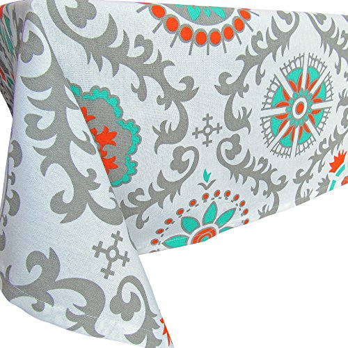 Crabtree Collection Gray Medallion Pinwheel Cotton Square Tablecloth Teal/Orange/Gray Medallion (60 x 60 Square)