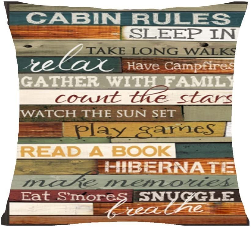 """FELENIW Retro Cabin Rules be Relax Enjoy The Holiday Throw Pillow Cover Cushion Case Cotton Linen Material Decorative 18"""" x18'' Square (6)"""