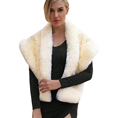Naturazy Mujer Abrigo Invierno Manta De Gran TamañO Coat Wrap Acogedor Chal Chales Estolas Mujer De Piel SintéTica Invierno Capa para Fiesta Novia Bodas: ...