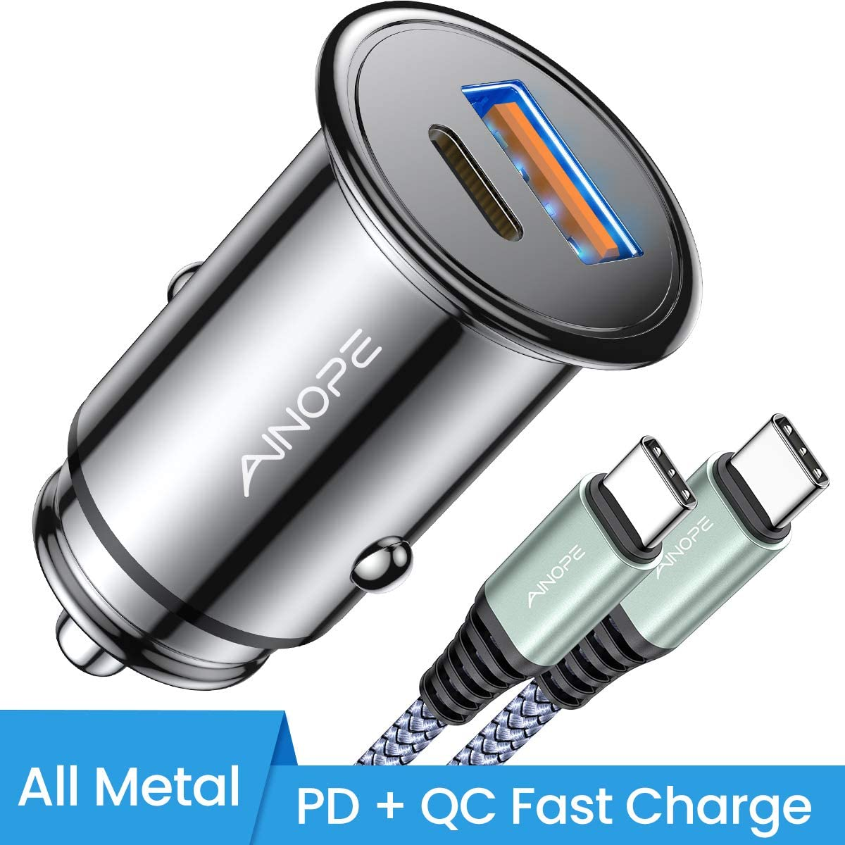 USB C Car Charger Super Mini AINOPE All Metal 36W Fast USB Car Charger PD&QC 3.0 Dual Port Car Adapter Fit Compatible with iPhone 11/11 Pro/11 Pro Max/XS, Samsung Note 10/S10, Google Pixel 3/2/XL