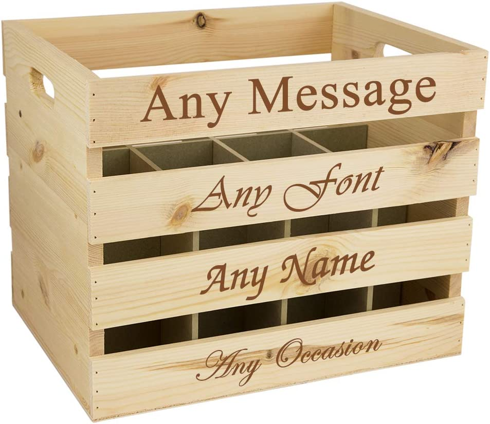 Perfect for Any Special Occasion Personalised Engraved 12 Bottle Wine Crate to fit Standard Bottle or Wine or Champagne