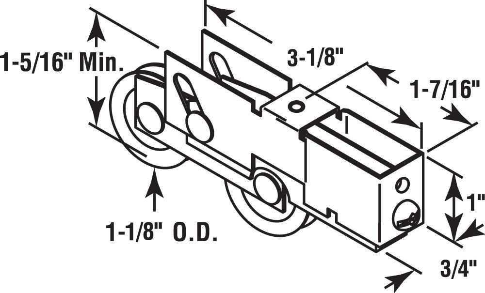 Slide-Co 132603 Adjustable Sliding Patio Door Tandem Roller Assembly, 1-1/8-Inch