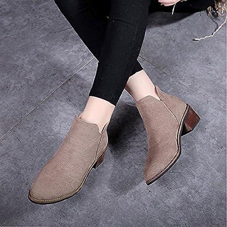 ZHZNVX HSXZ Chaussures pour Femmes Bottes Confort Hiver Automne PU Talon Chaussures Bottines/Boots Noir Kaki Occasionnels,Black,US8/EU39/UK6/CN39