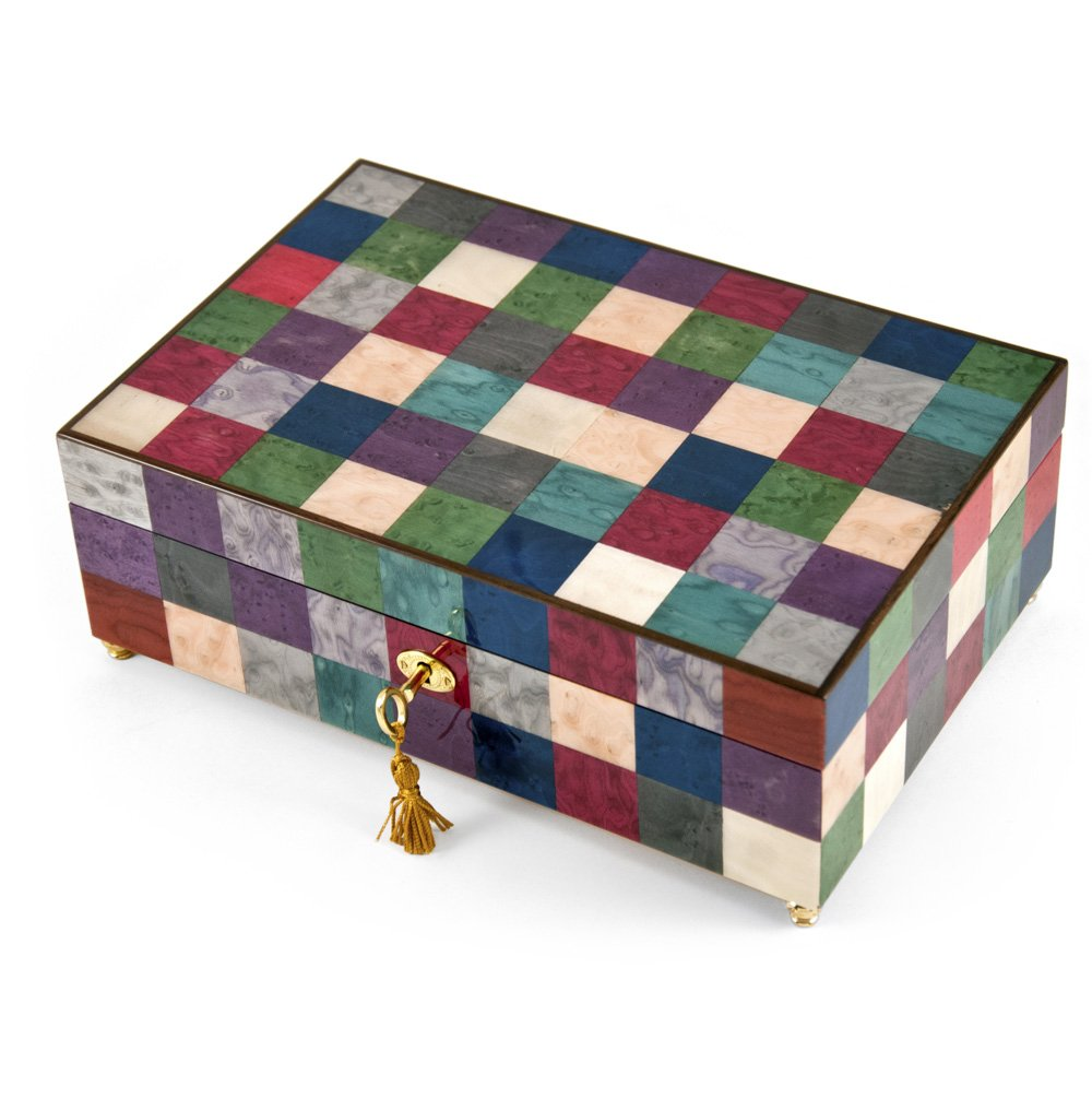 Gorgeous 18 Note Modern Pastel Checkered Sorrento Music Jewelry Box with Lock and Key - Too Much In Love To Care - SWISS