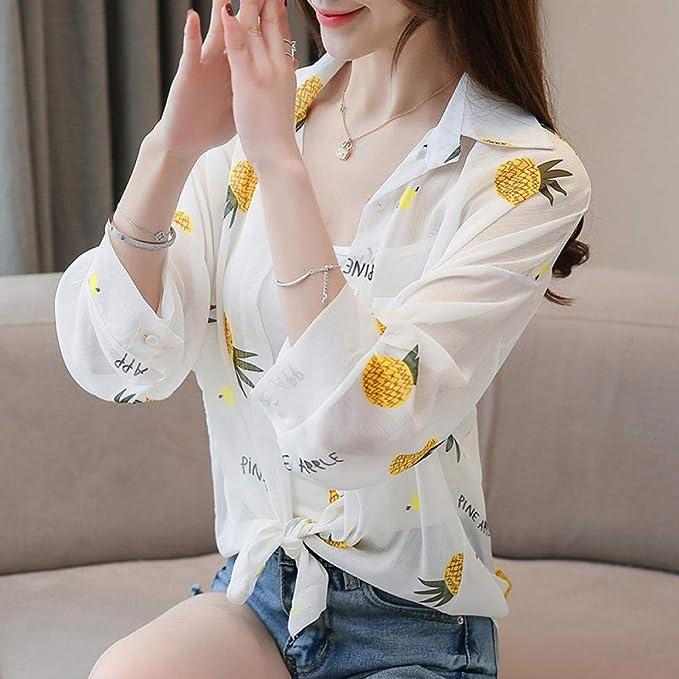 Camisa Suelta de Mujer Mantón de Verano Kimono Chiffon Cardigan Blusa Playera Protector Solar @ Pineapple_Una Talla: Amazon.es: Ropa y accesorios