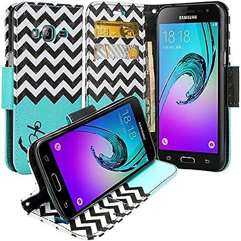 Galaxy Luna Case, Galaxy Amp 2 Case, Galaxy Express 3 Case, Galaxy Amp 2 Wallet Case, Wrist Strap Flip [Kickstand] Pu Leather Wallet Case with ID&Credit Card Slot For Galaxy Amp 2, Teal (Galaxy 3 Phone Flip Cases)
