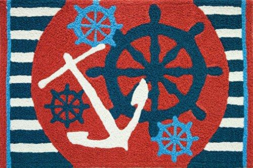 Jellybean Anchors Away Ships Wheel Nautical Sailing Area Accent Rug (Rugs Area Nautical)