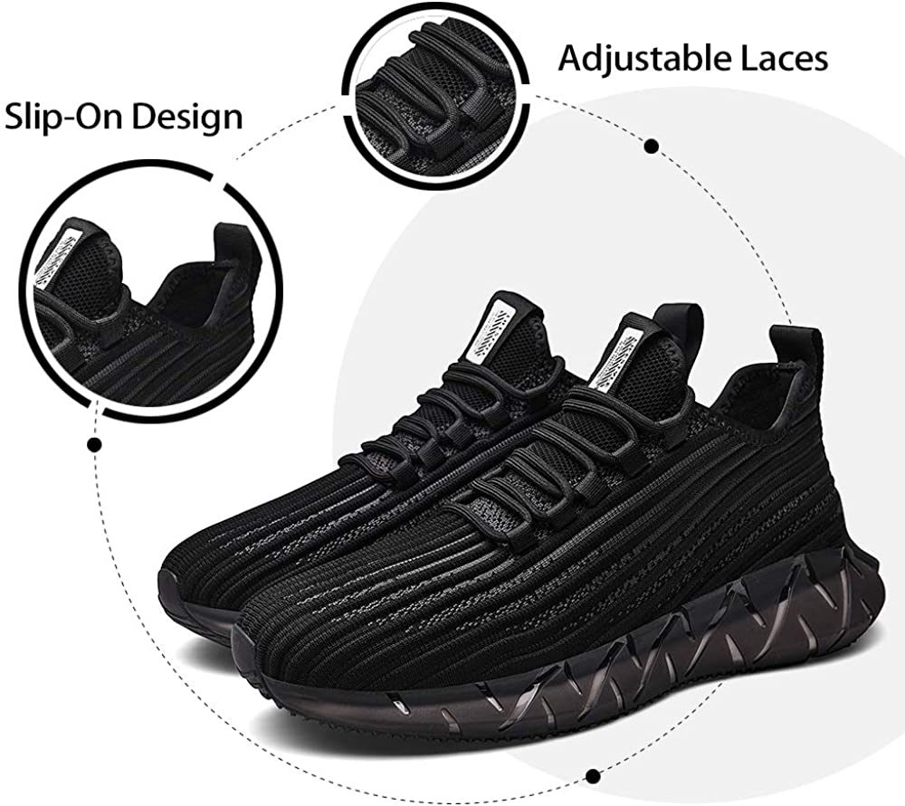 Discount XIDISO Men's Walking Shoes Lightweight Slip on Fashion Sneakers Stylish Breathable Comfortable Footwear Black ZSxY6Y