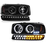 VIPMOTOZ Black LED Halo Ring Projector Headlight + LED Strip Front Bumper Parking Turn Signal Lamp Housing Assembly…