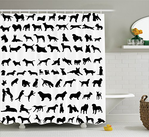Ambesonne Dog Lover Decor Collection, Silhouettes of Different Breeds of Dogs Bulldog Shepherd Pinscher Spaniel St Bernard, Polyester Fabric Bathroom Shower Curtain Set with Hooks, Black White