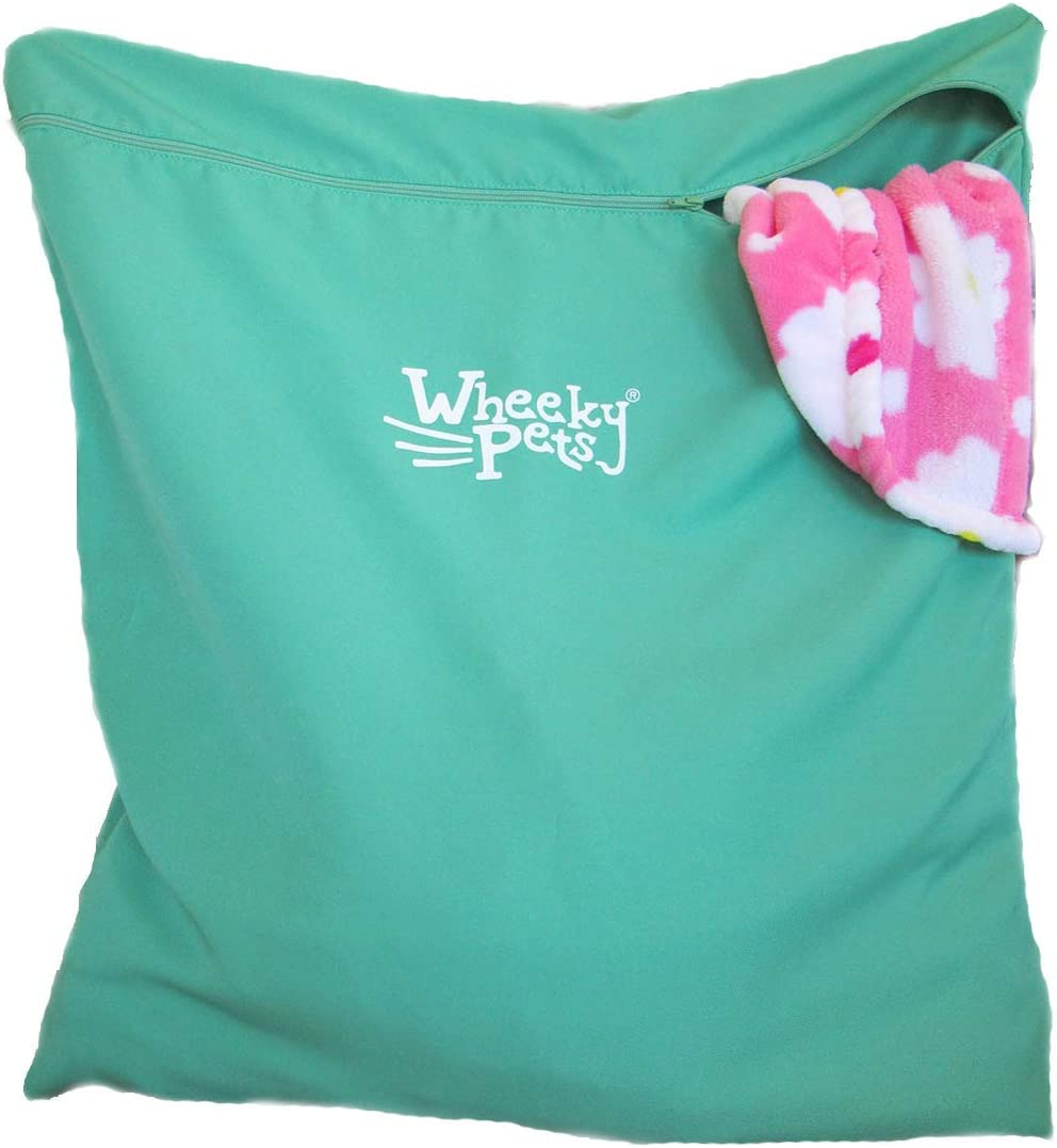 """Wheeky Pets Laundry Helper, Laundry Bag for Pet Beds, Fleece, C&C Cage Liners, Midwest Cage Liners and More, for Guinea Pigs, Rabbits and Small Pets, Green/White, Size 29"""" W x 31"""" L: Home & Kitchen"""