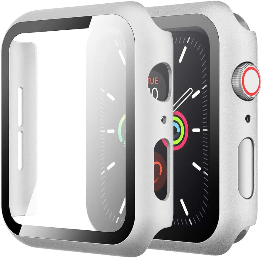 Simpeak Case with Glass Screen Protector Compatible with Apple Watch 44mm Series 4 5 6 SE, Full Coverage Slim Hard Case Built-In Tempered Glass Screen Protector Replacement for iWatch 44 mm, Silver