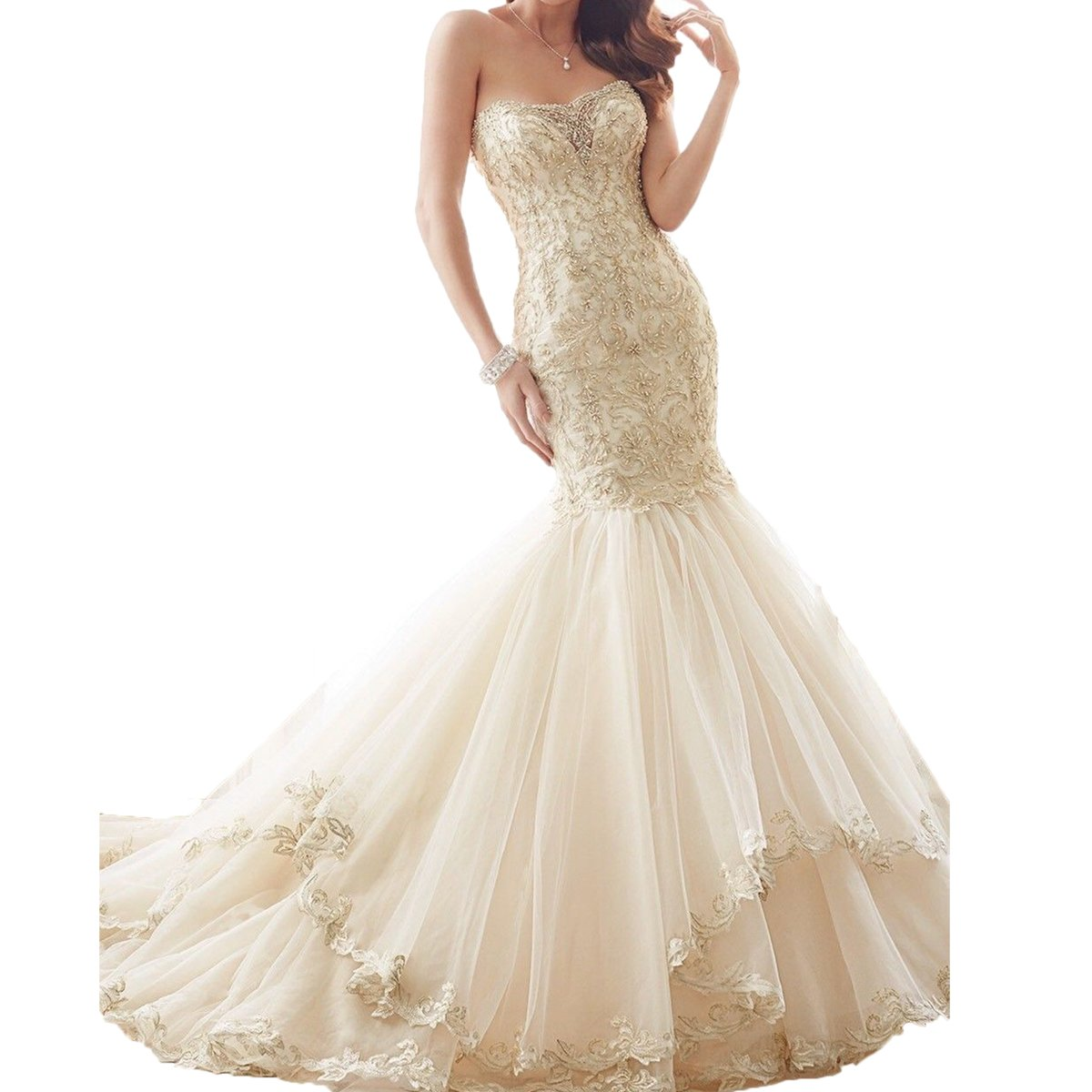 Thrsaeyi Womens Gold Lace Mermaid Wedding Dresses Strapless Beaded