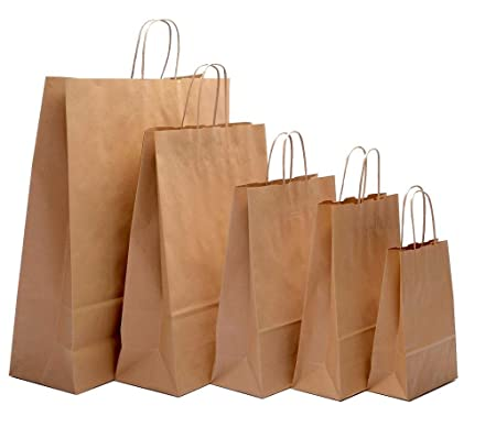 7b27eb4b5a 25 x Brown Kraft Twisted Handle Paper Carrier Bags (Extra Large -  440x140x500mm)