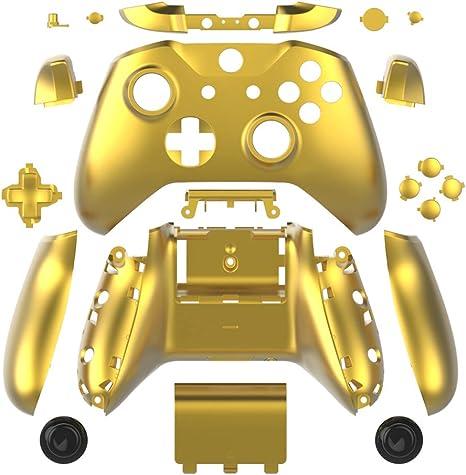 WPS - Juego Completo de Carcasas para Mando de Xbox One S Slim (3,5 mm, Incluye Botones ABXY + Protectores RB LB + rieles Derechos/izquierdos) Dorado Chrome Gold: Amazon.es: Electrónica