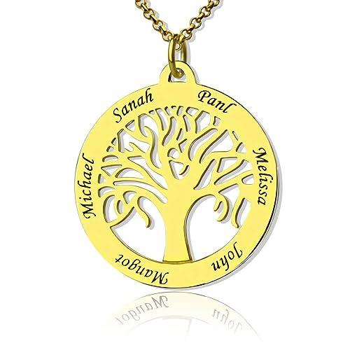 Jf Collar Personalizado De árbol Genealógico 6 Nombres Nombre De árbol De La Vida Para Mamá