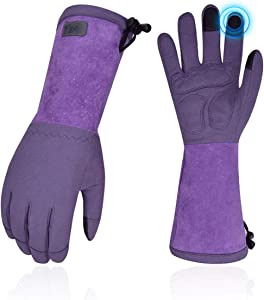 Vgo Ladies' Synthetic Leather Extended Pig Split Leather Cuff Rose Pruning Thorn Proof Garden Gloves (Size L, Purple,SL6592W)