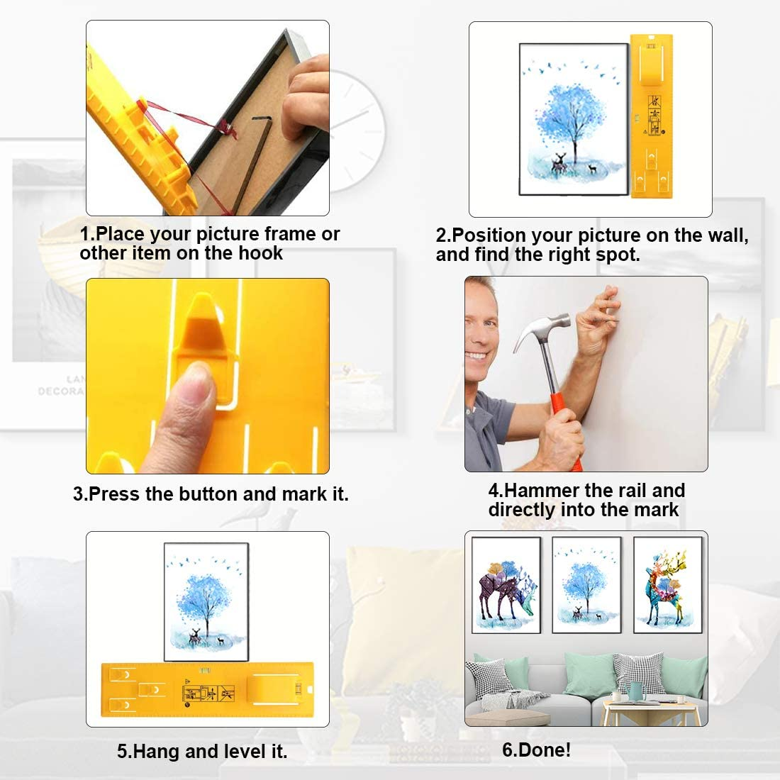 Bilder Aufhängewerkzeug Bilderrahmen Aufhänger Lineal Markierungshilfe mit  Wasserwaage Picture Hanger Tools für Markierungsposition Messen Spiegeln  Uhren Fotos Leinwänden: Amazon.de: Baumarkt