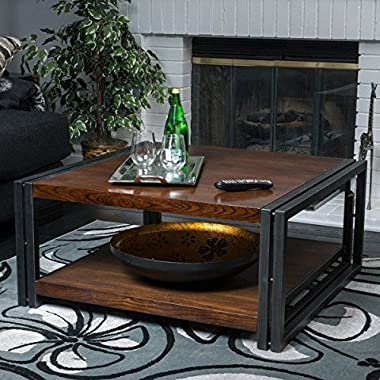 Contemporary/ Modern Mayfair Dark Oak Wood Coffee Table (296327). 16.50 in High x 36 in Wide x 36 in Deep - Assembly Required