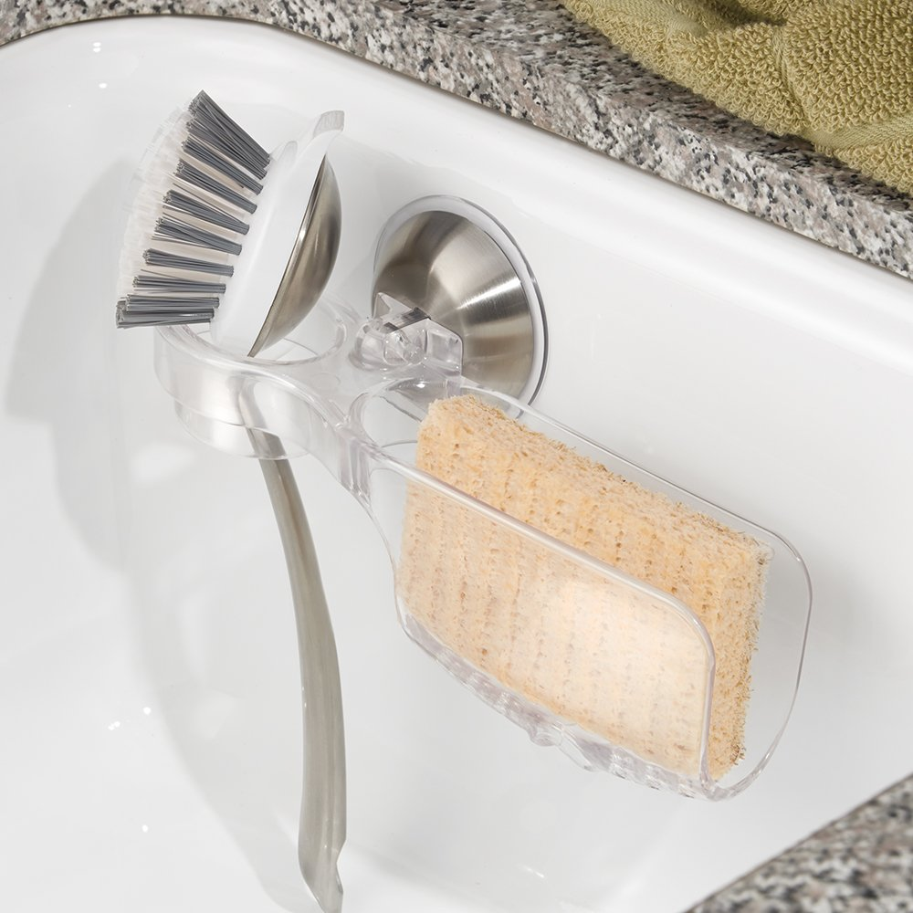 Amazon.com: InterDesign Forma Power Lock Kitchen Sink Suction Holder For  Sponges, Soap With Scrub Brush Holder   Clear/Brushed Stainless Steel: Home  U0026 ...